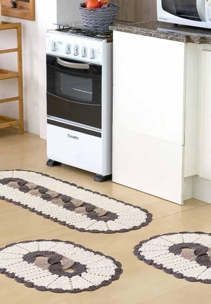 Conjunto de tapete para cozinha em barbante.