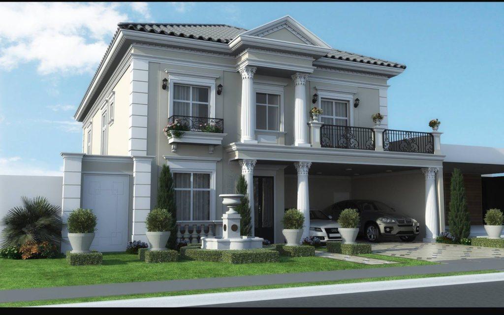 Modelo de casa tradicional, com dois andares e varanda,