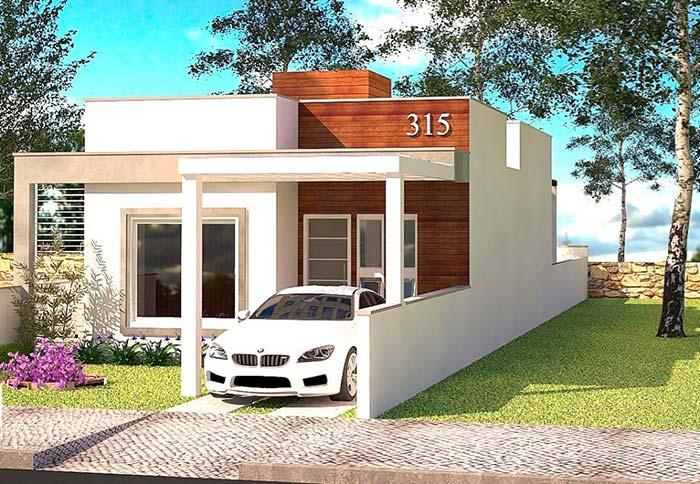 Casa de um andar, com fachada em linhas retas.