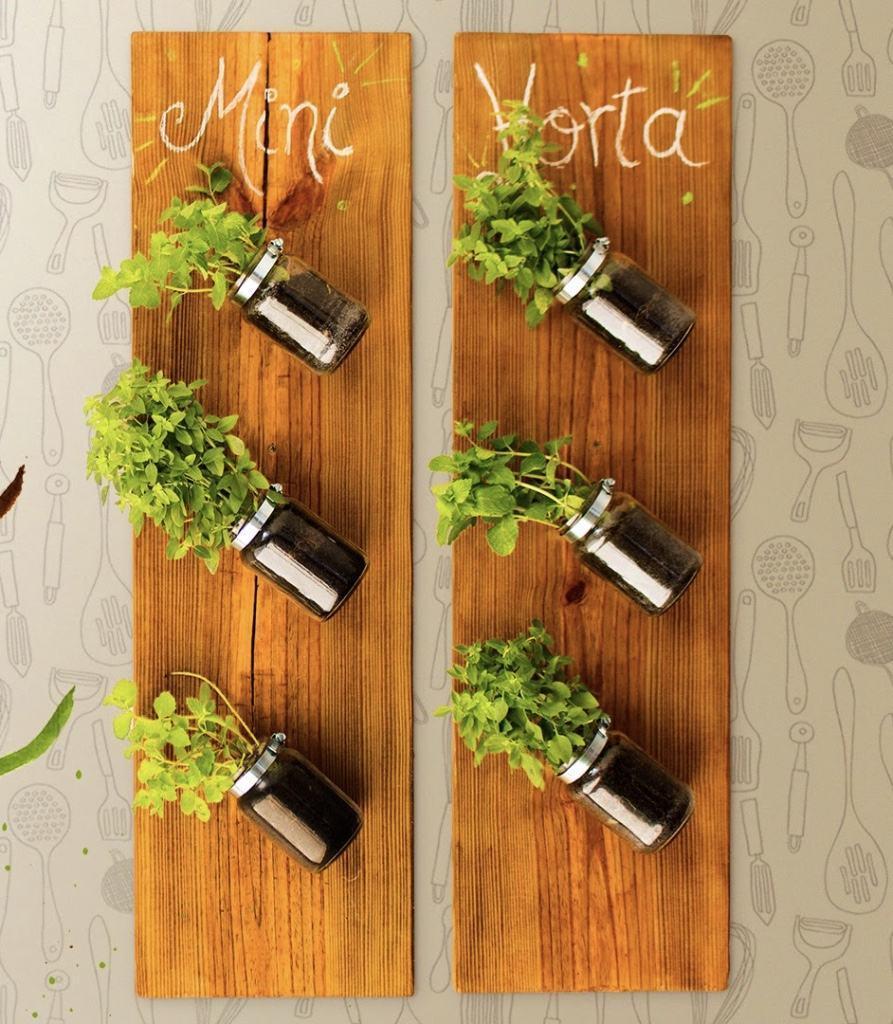 Potes de vidro usados como vasos de planta em horta vertical