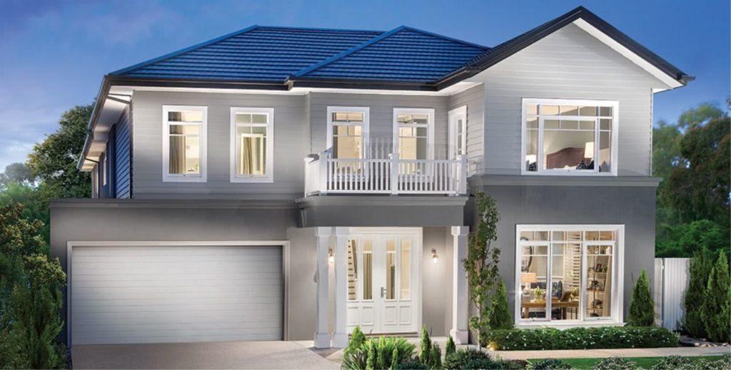 Casa de dois andares, com a fachada cinza.