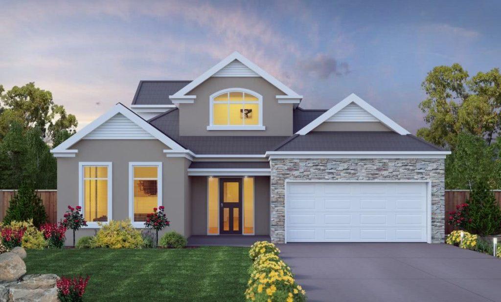 Modelo de casa com dois andares, com fachada cinza e de pedras, no estilo americano.