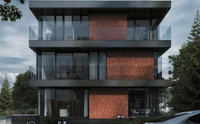 Imagem de uma casa com três andares e arquitetura moderna,