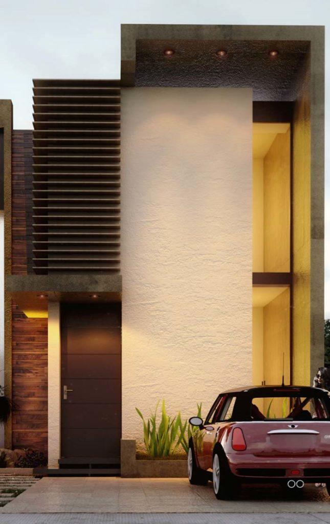 Casa moderna, que mistura elementos na sua construção,