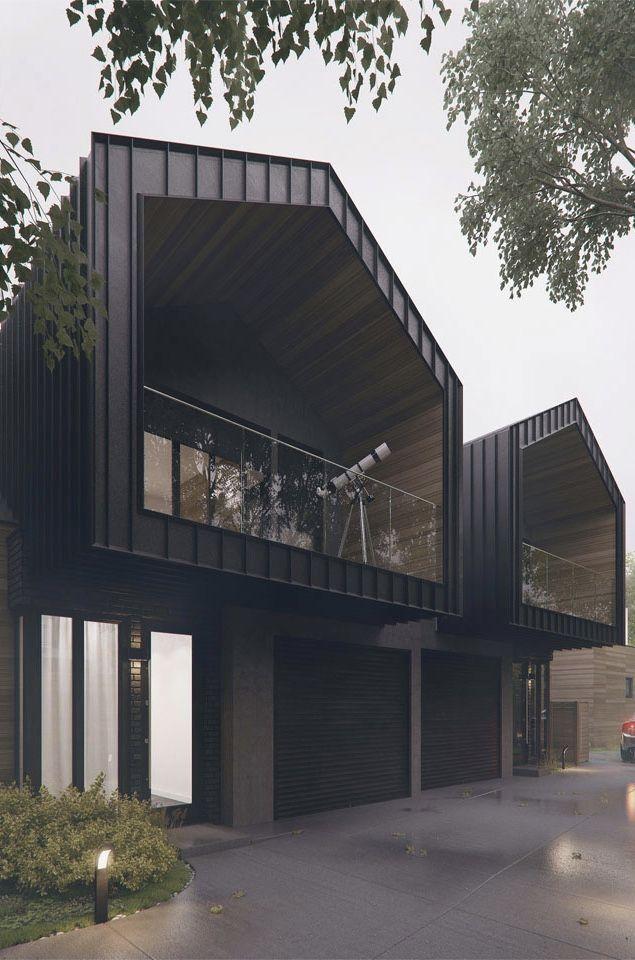 Casa com estrutura metálica aparente.