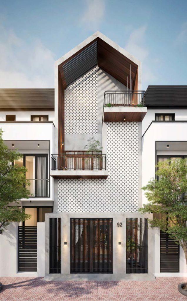 Modelo de casa moderno e com três andares.