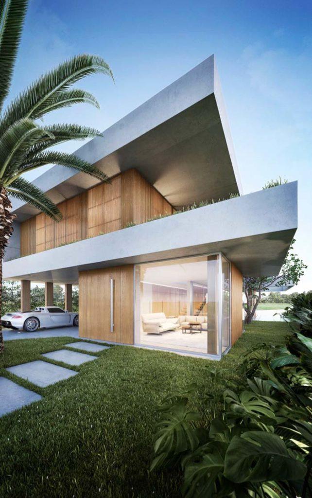 Casa moderna com linhas retas e madeira,