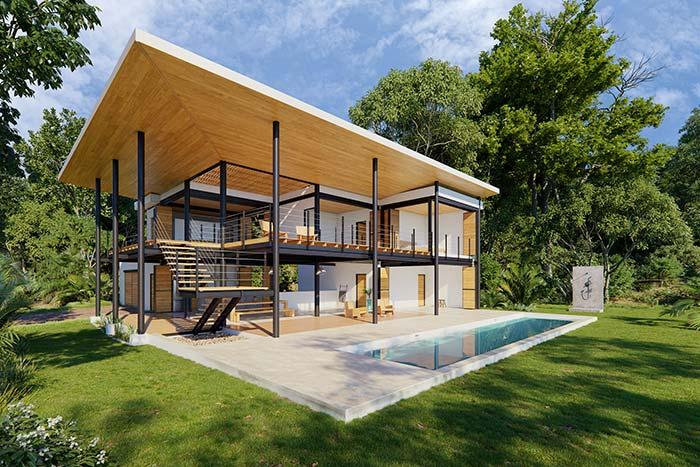 Casa de dois andares, com estrutura de metal e telhado de madeira.