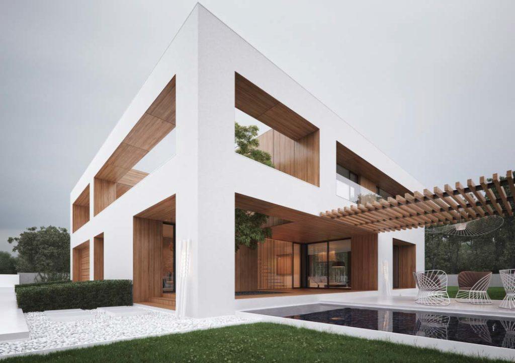 Casa de dois andares construídas em linhas retas.