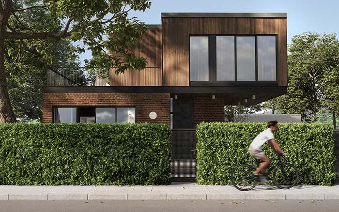 Casa com arquitetura moderna, com estrutura de madeira.