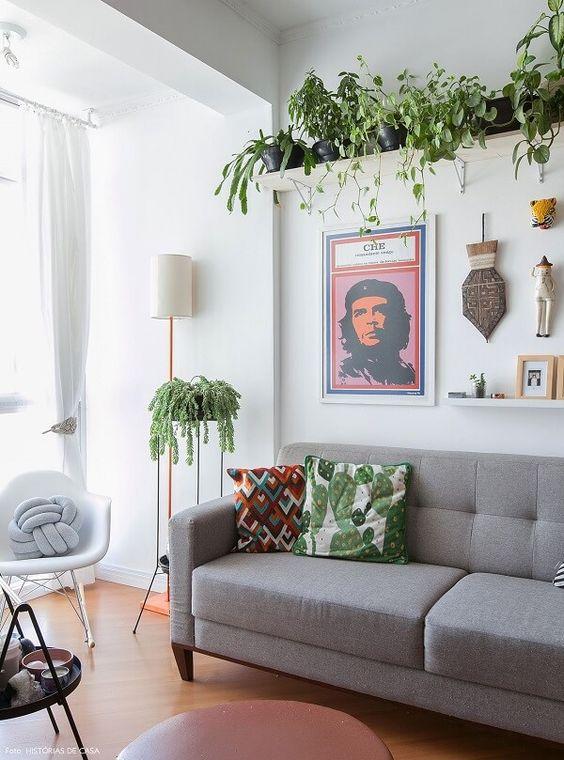 Sala de estar decorada com estante e plantas em cima do sofá.