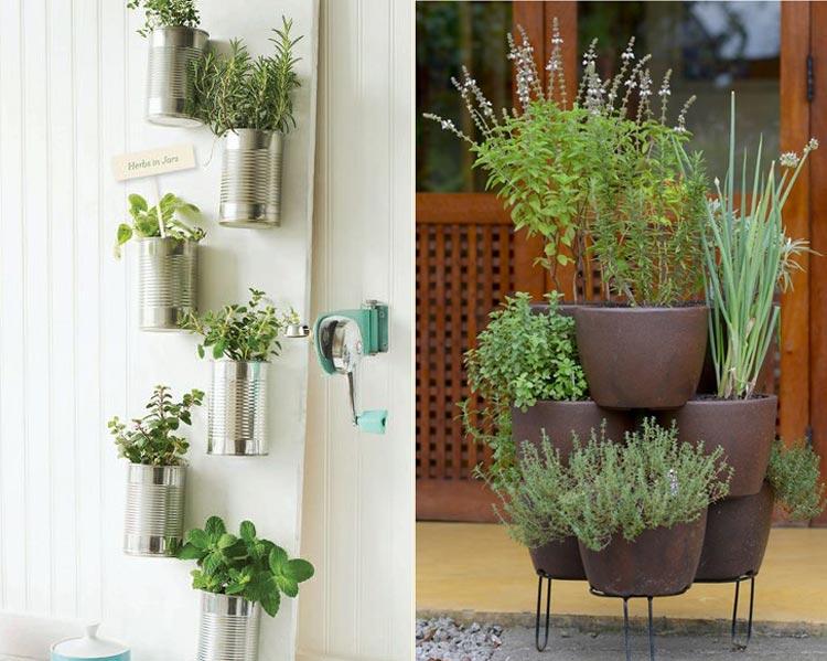Duas fotos de hortas com vasos diferentes.