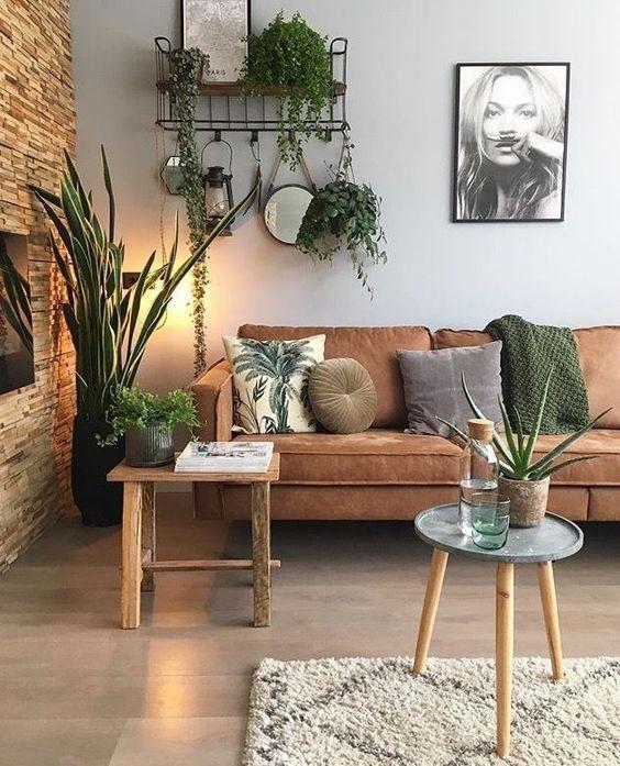 Sala decorada com sofá terracota, móveis em madeira e plantas.