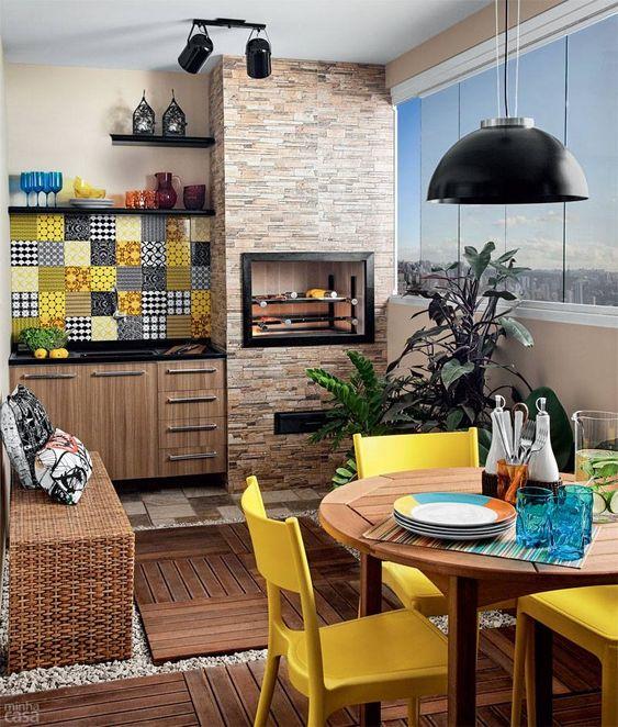 espaço gourmet em tons de amarelo