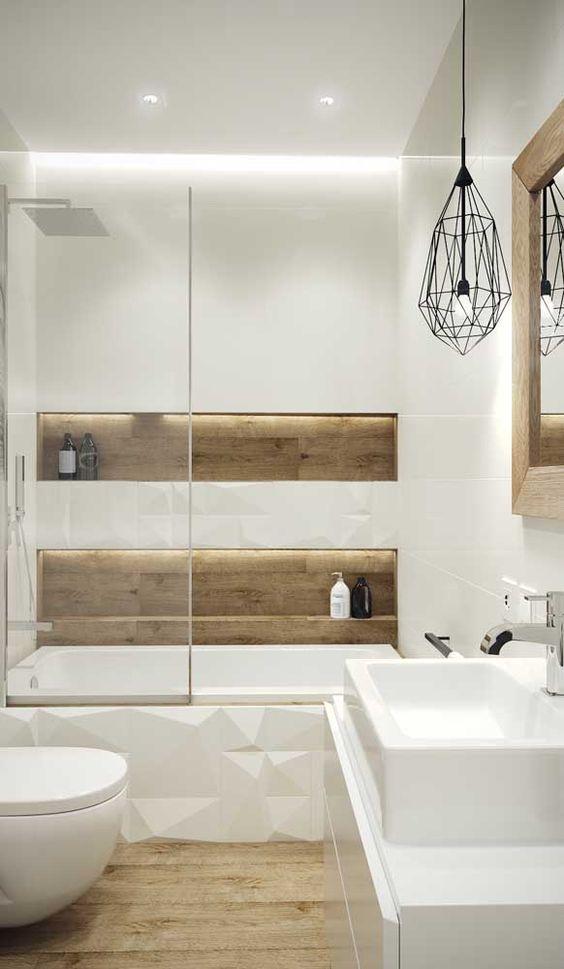 Banheiros modernos trazem mistura de revestimentos.