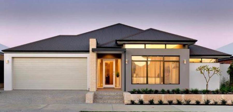 Casa de um andar, com garagem e janela ampla.