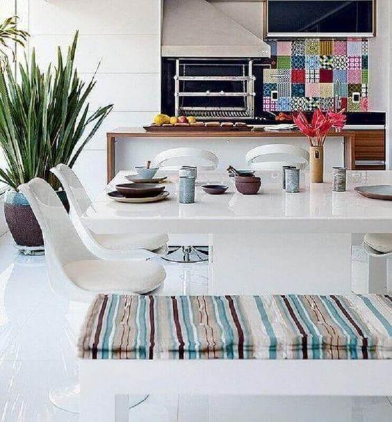 área gourmet com decoração clean