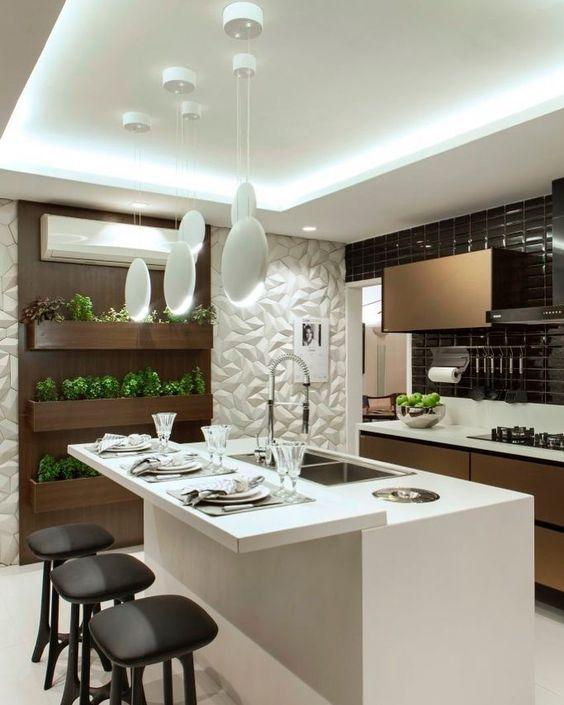 Cozinha moderna com textura em 3D.
