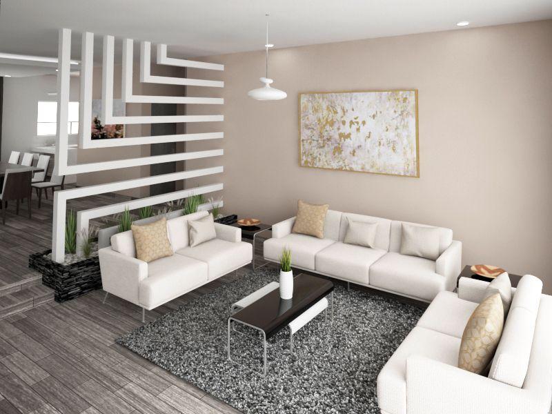 decoração de sala moderna com painel vazado
