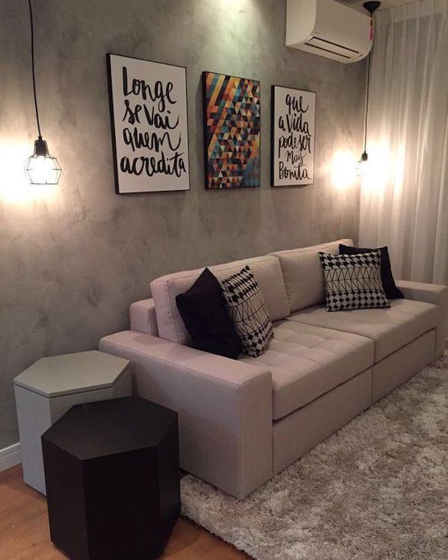 decoração de sala pequena em cinza