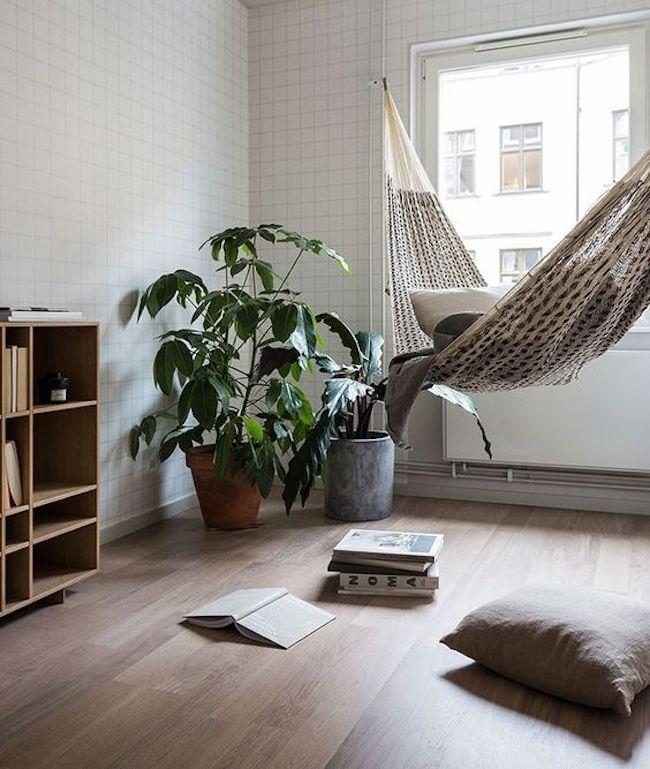 decoração de sala pequena com rede