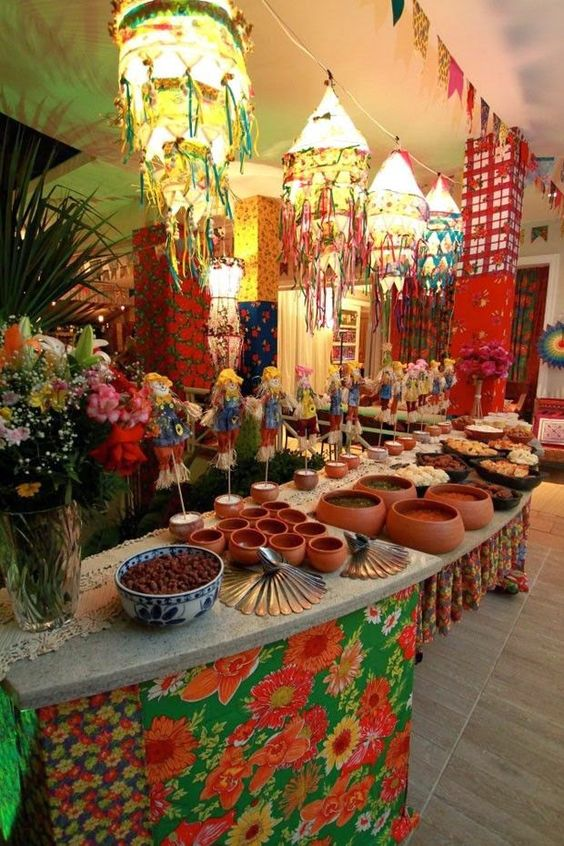 buffet decorado para festa junina