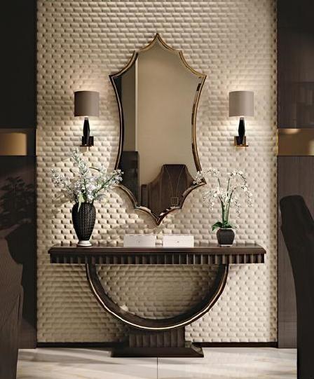 espelho bisotado em hall refinado