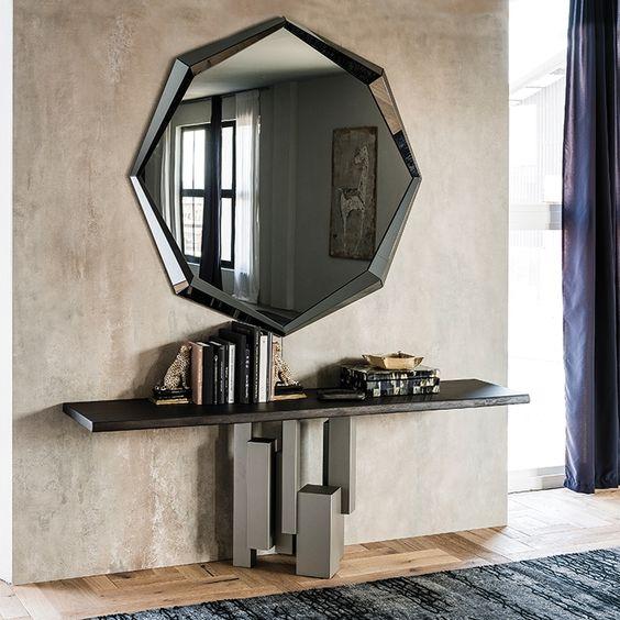 espelho bisotado em hall sofisticado