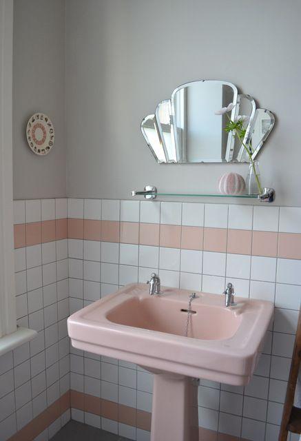 espelho bisotado para banheiro retrô