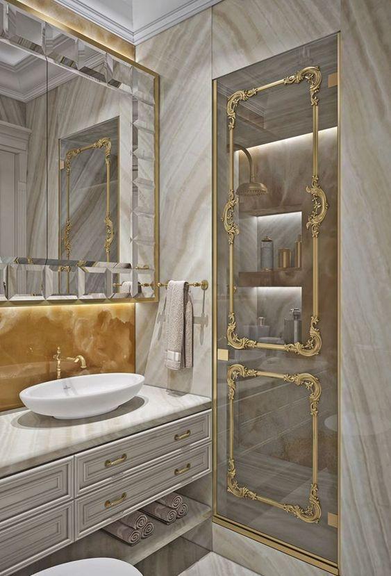 espelho bisotado dourado para banheiro