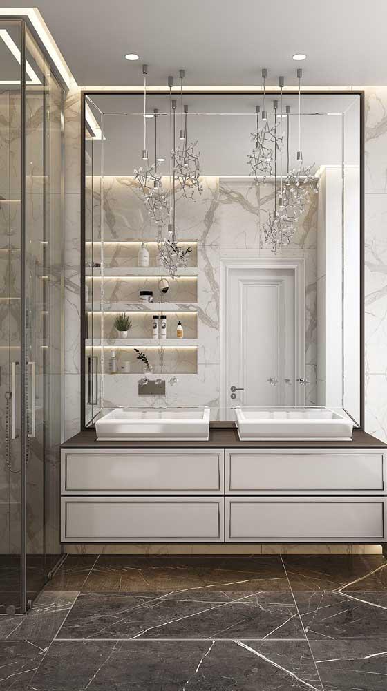 espelho bisotado retangular para banheiro