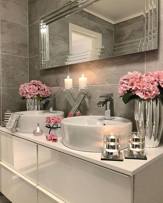 espelho bisotado para banheiro romântico