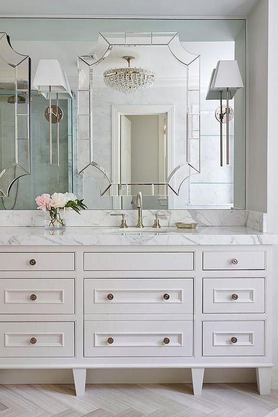 espelho bisotado com efeito 3D para banheiro