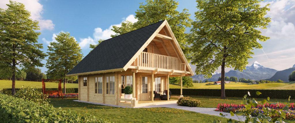 Modelo de casa simples, toda construída com madeira.