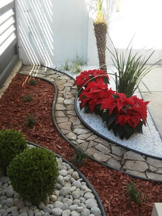 Jardins pequenos no quintal de casa.