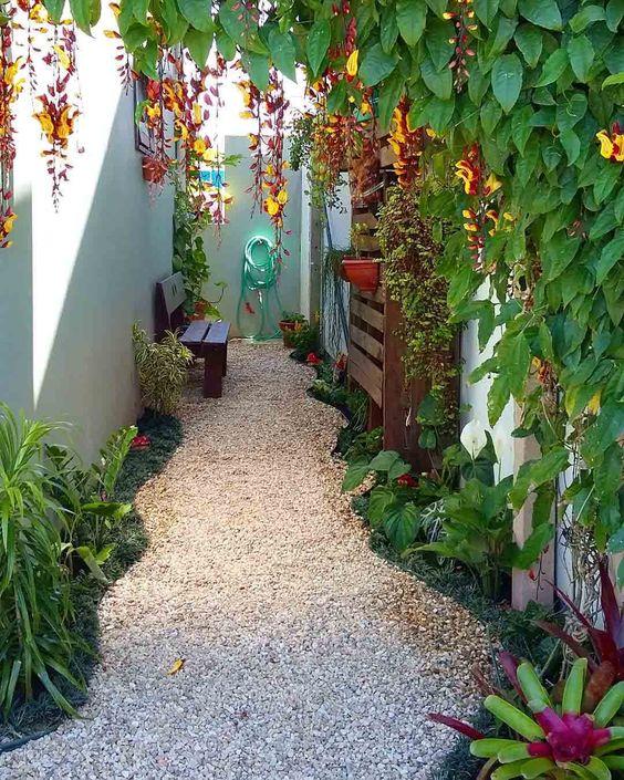 jardim pequeno no fundo do quinta.