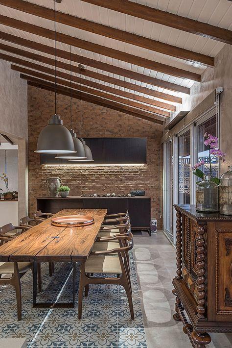 área gourmet com decoração de madeira