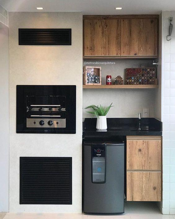 Espaços gourmet pequeno para apartamento.