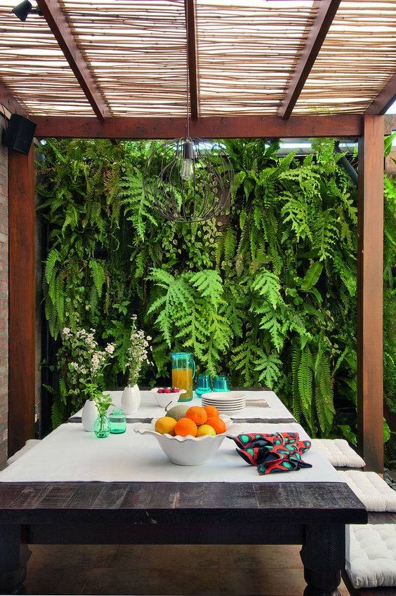 área gourmet com plantas