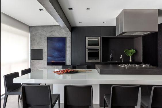 área gourmet com decoração preto e branco