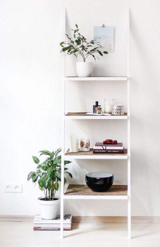 estante branca decorada com plantas, livros e objetos decorativos.