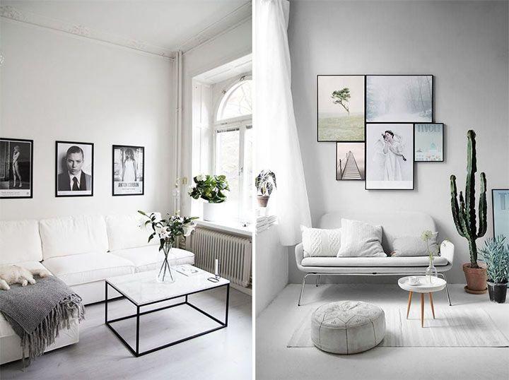 Montagem com duas salas decoradas no estilo minimalista, com paredes e móveis brancos.