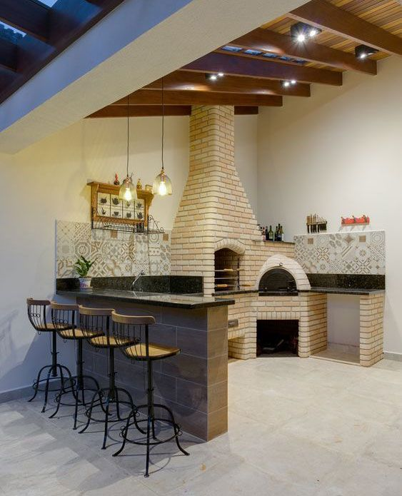 espaços gourmet com decoração simples.