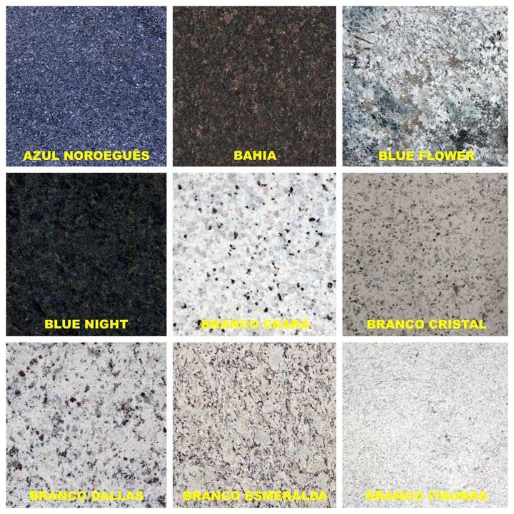 Variações de granito azul