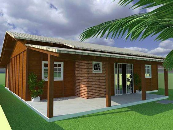 Casa de madeira com tijolinho.