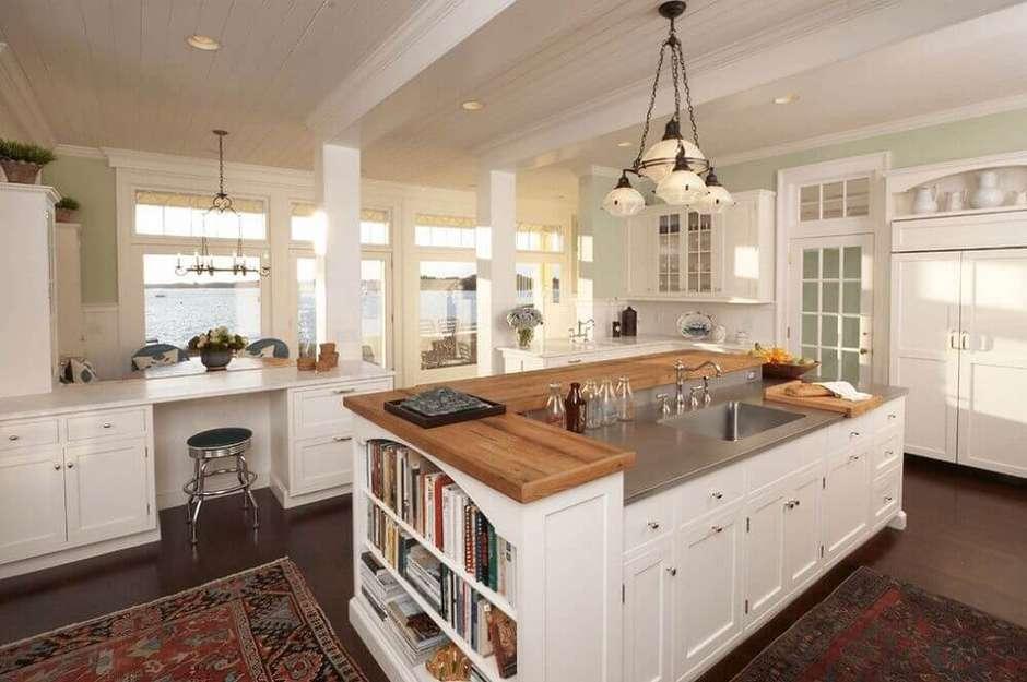 Cozinha com ilha grande,