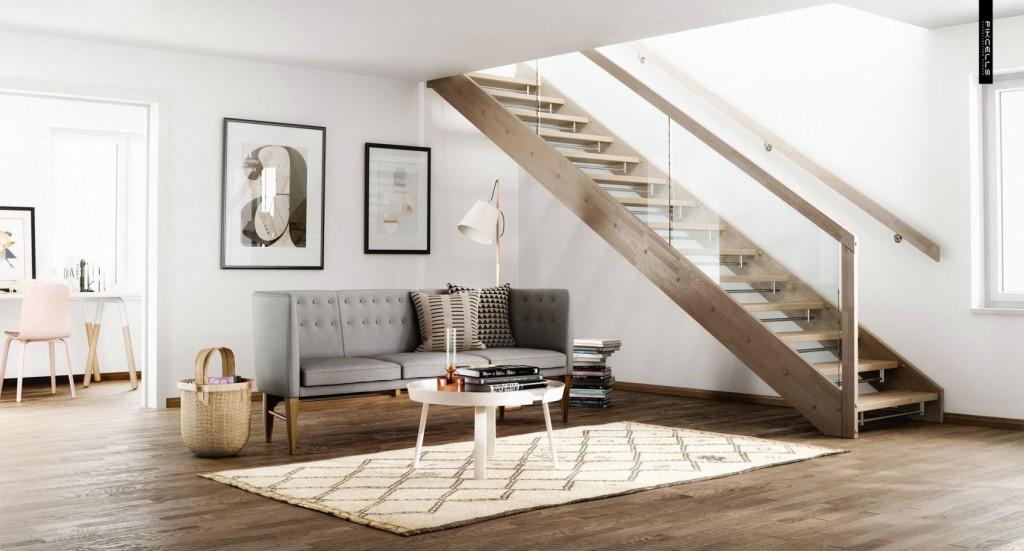 Escada de madeira e vidro.
