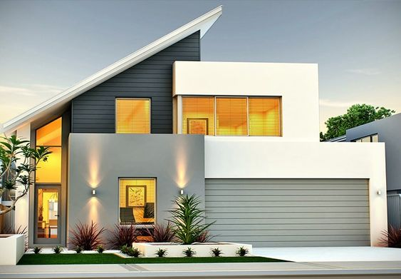 Fachada moderna com telhado aparente em forma pontiaguda.