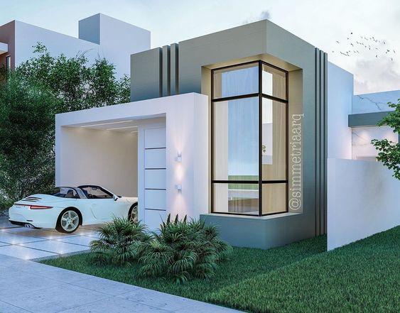 Casa moderna com linhas ortogonais.