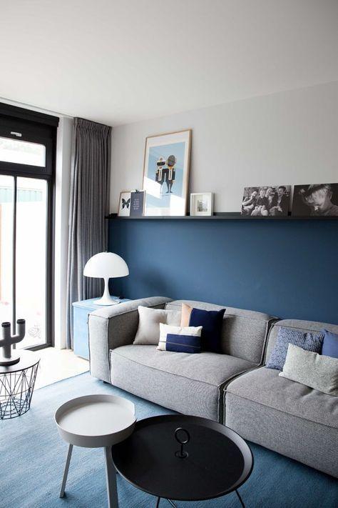Meia parede em azul foi a escolha neste projeto.